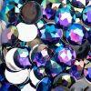 Acrylic Round Flat Back Rhinestones 20mm Purple Aurora Borealis 200pcs/bag
